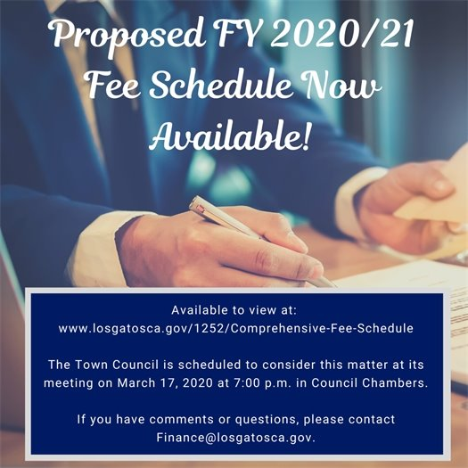 Proposed FY 2020/21 Fee Schedule Now Available!
