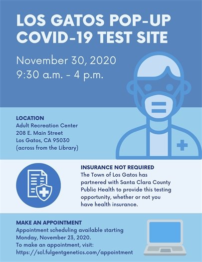 Los Gatos Pop-Up COVID-19 Test Site November 30, 2020