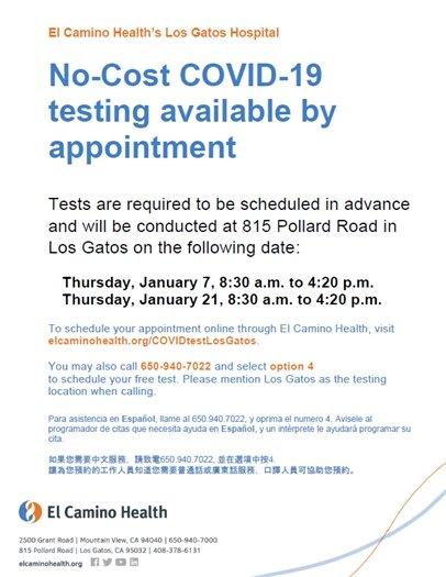 COVID-19  Testing at El Camino Health's Los Gatos Hospital