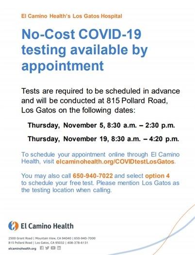 EL Camino Hospital Free COVID Testing