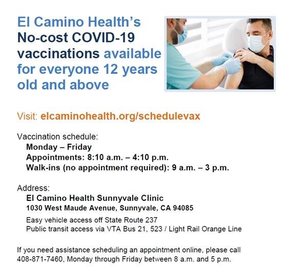 El Camino Health Vaccination Appointments