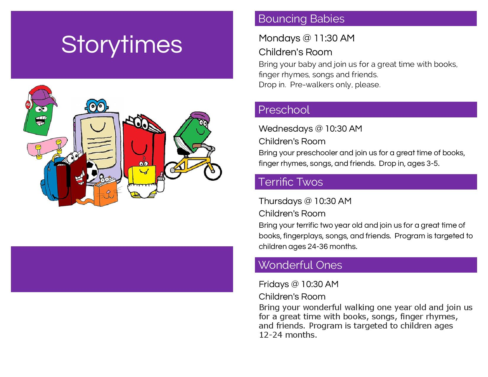 Storytime Schedule