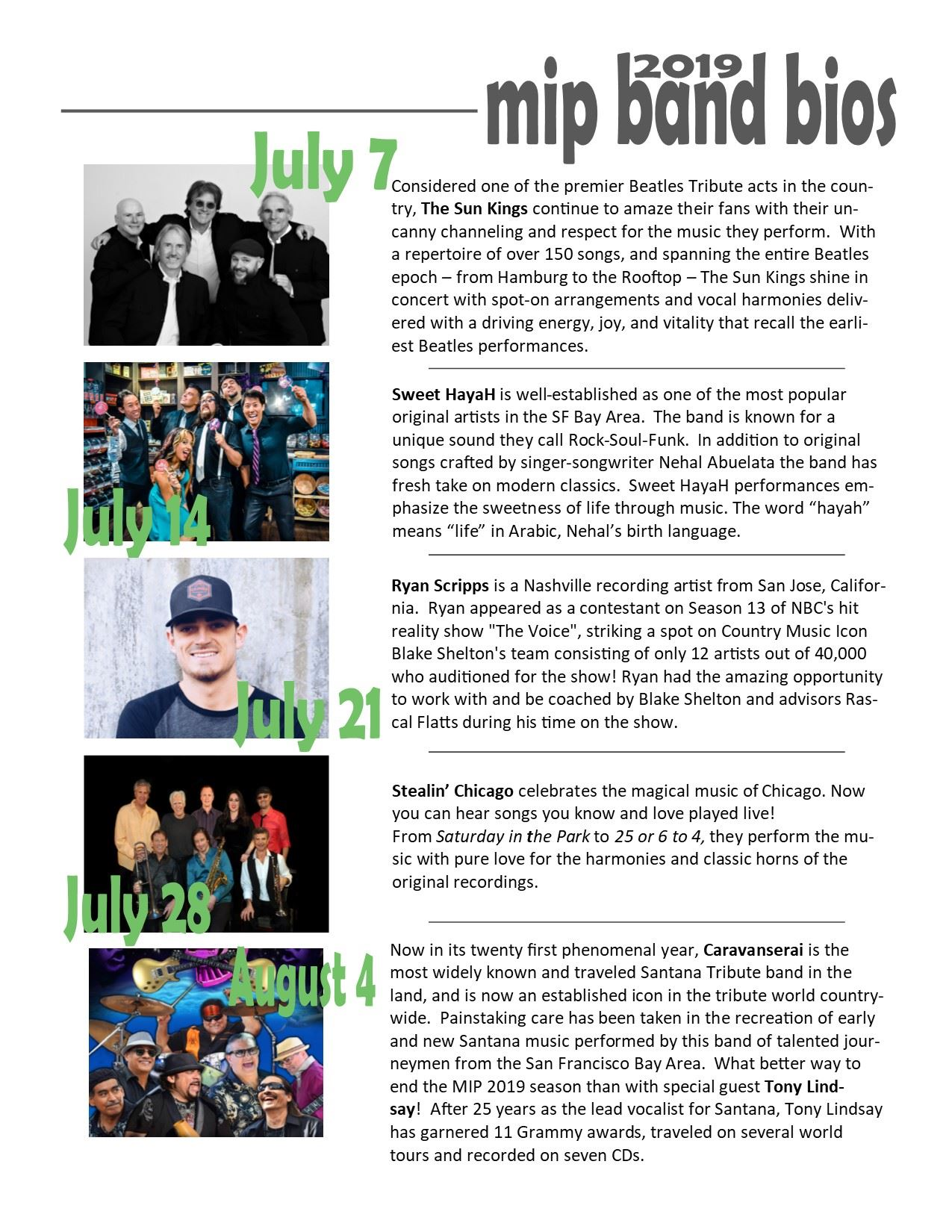 Band Bios with pictures Draft 2019